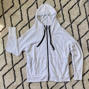 Fabletics Long Hooded White Sweatshirt